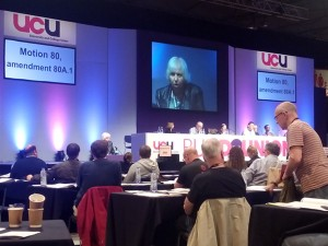 Valerie moving EHCR Retired Members Motion at Congress 2015